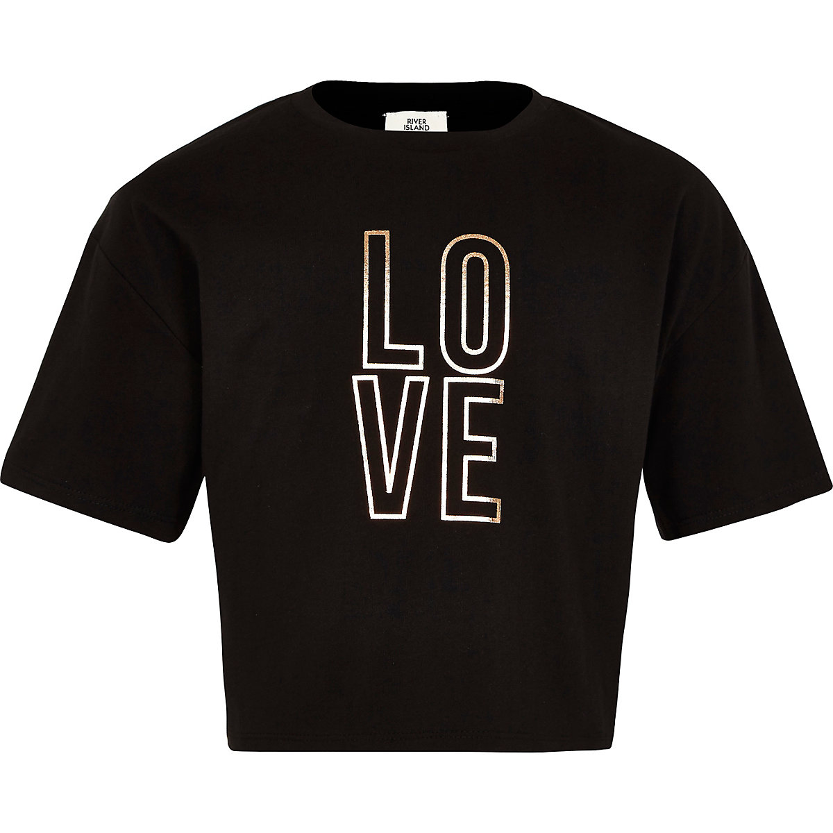 Girls black 'Love' crop T-shirt