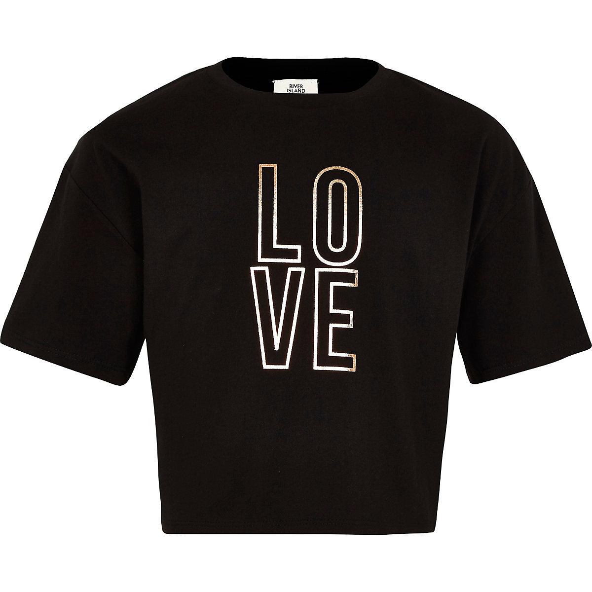 Girls black 'Love' crop T-shirt