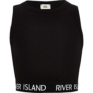 Zwarte geribbelde crop top met RI-logo voor meisjes