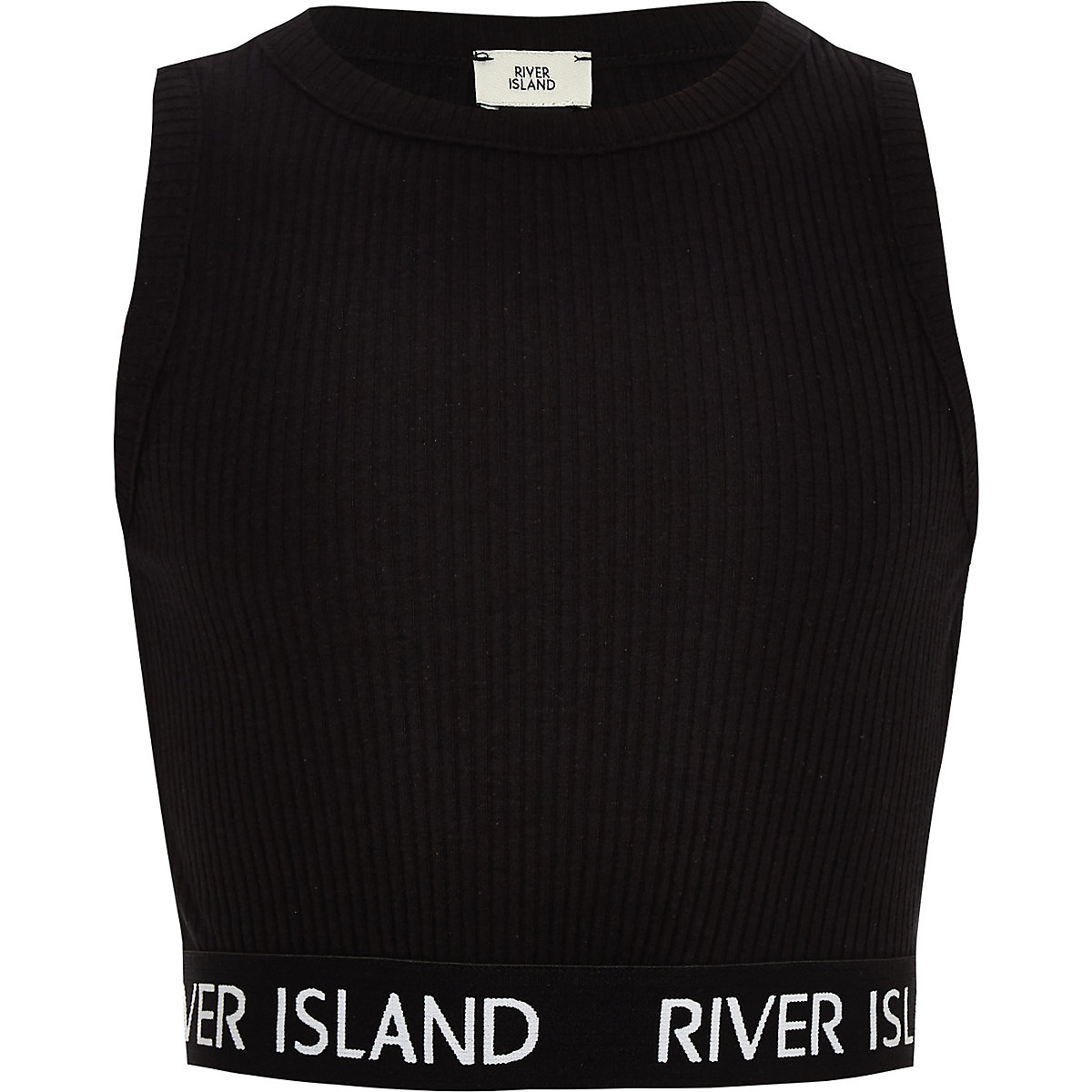Girls black RI ribbed crop top