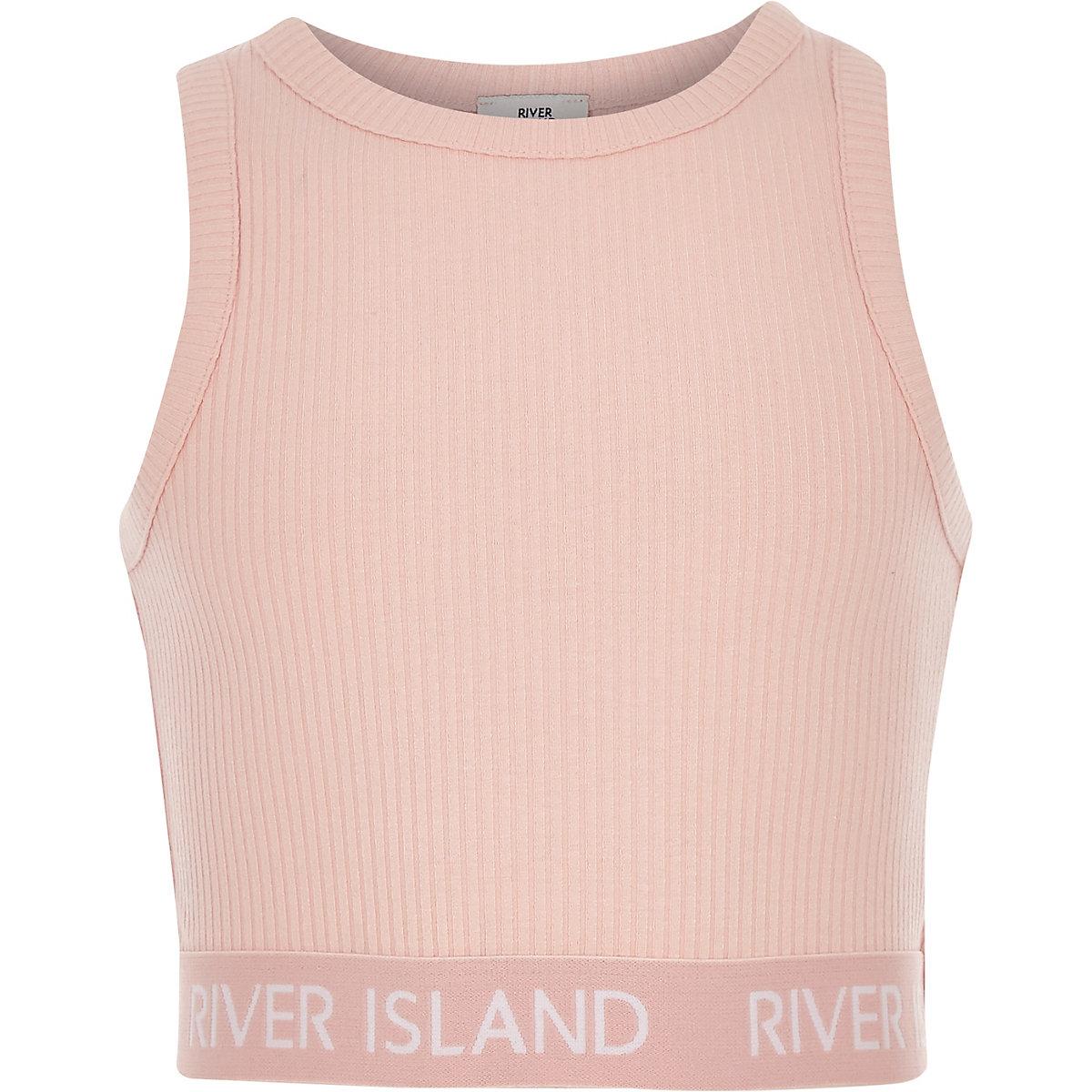 Girls pink crew neck ribbed crop top