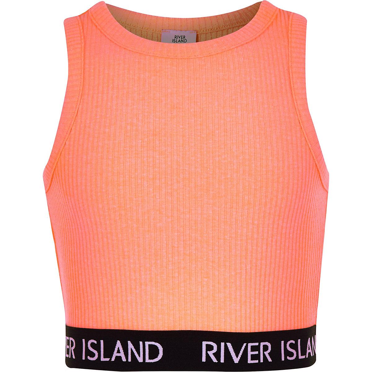 Girls coral ribbed crew neck crop top