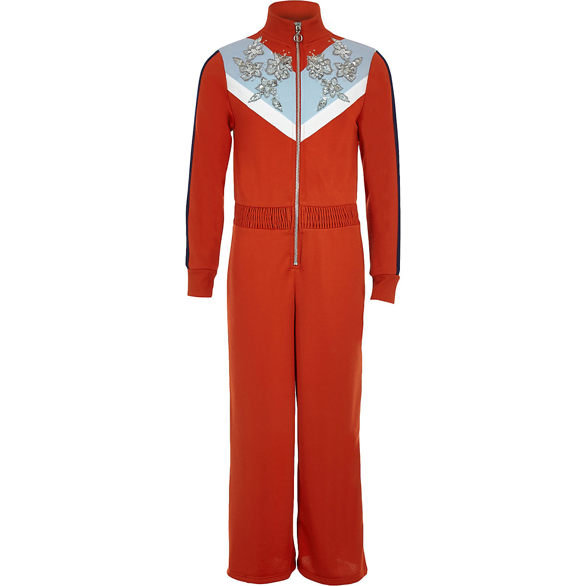 Girls red funnel neck embellished jumpsuit