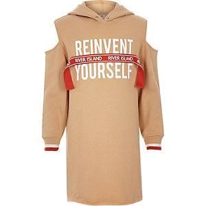 Girls brown RI 'Reinvent' hooded sweater dress