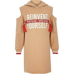 Robe pull RI «Reinvent» marron à capuche pour fille