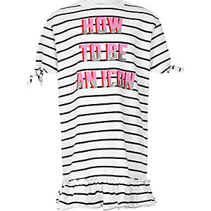 Girls navy stripe frill hem T-shirt dress