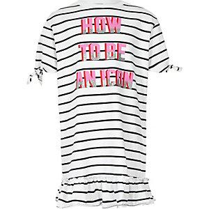 Girls navy stripe frill hem T-shirt dress