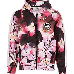 Hype – Sweat à capuche à fleurs noir zippé pour fille