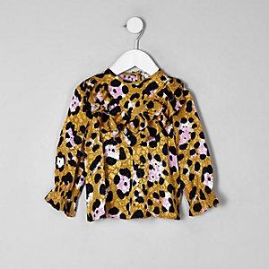 Mini girls brown leopard print frill top