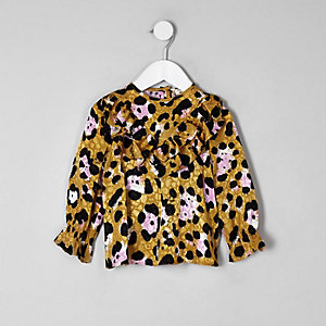 Mini girls brown leopard print frill top