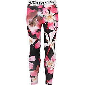 Girls black Hype flower leggings