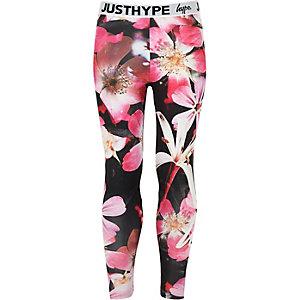 Hype - Zwarte legging met bloemenprint voor meisjes