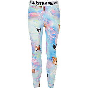 Girls blue Hype cat leggings