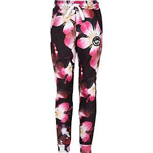 Hype - Zwarte joggingbroek met bloemenprint voor meisjes
