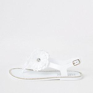 Weiße Jelly-Sandalen mit Blumen