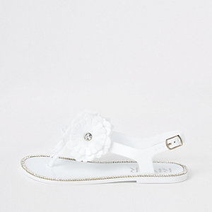 Girls white floral jelly sandals
