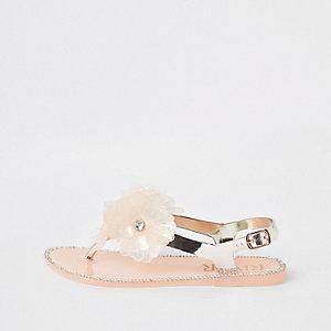 Sandales en plastique dorées avec fleurs pour fille