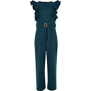 Girls dark blue ruffle belted jumpsuit