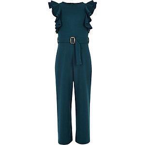 Donkerblauwe jumpsuit met ruches en ceintuur voor meisjes