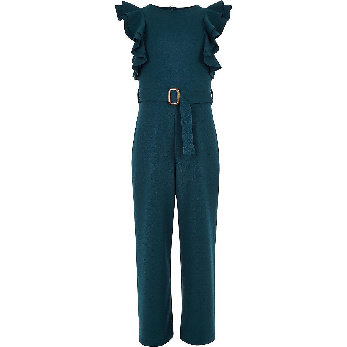 Girls dark blue ruffle belted jumpsuit