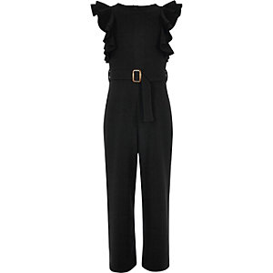 Girls black ruffle belted jumpsuit