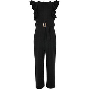 Zwarte jumpsuit met ruches en ceintuur voor meisjes