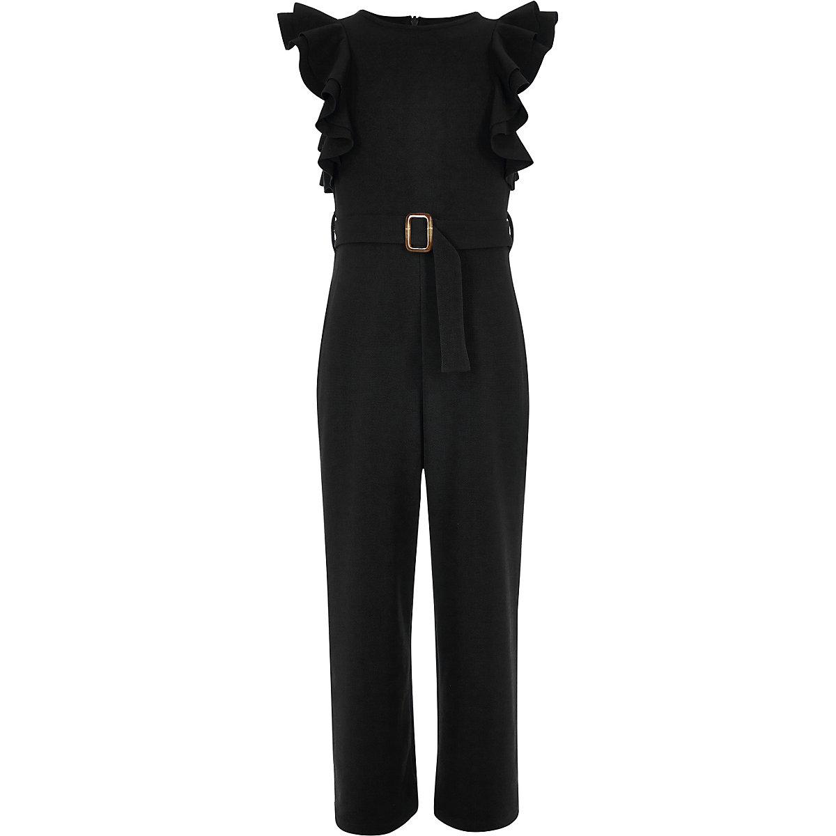 Girls black ruffle belted jumpsuit
