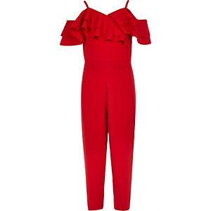 Combinaison rouge à volants et épaules dénudées pour fille