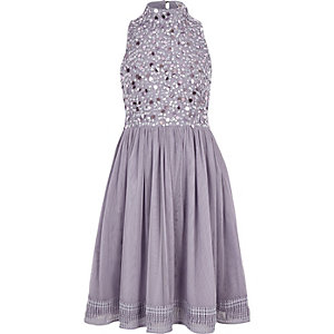 Girls lilac floral sequin prom dress