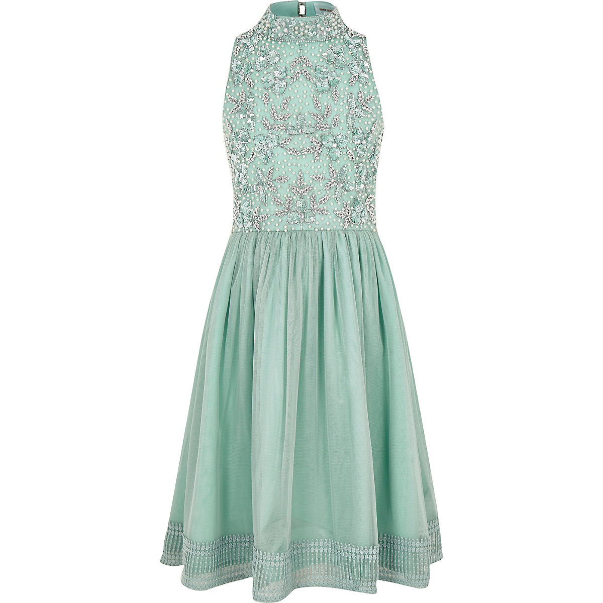 Green sequin embellished prom dress