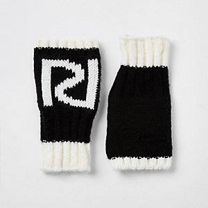 Girls black RI fingerless mittens