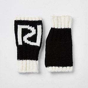Zwarte vingerloze wanten met RI-logo voor meisjes