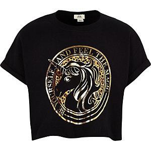 Schwarzes, kurzes T-Shirt mit Einhornmotiv