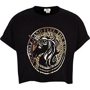Girls black unicorn print cropped T-shirt