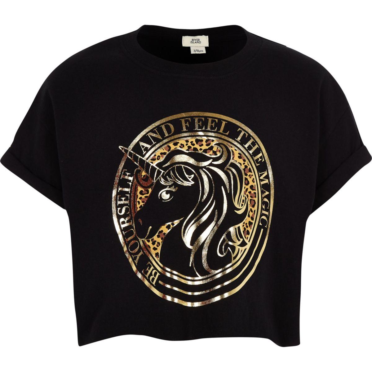 Girls black unicorn print cropped T-shirt