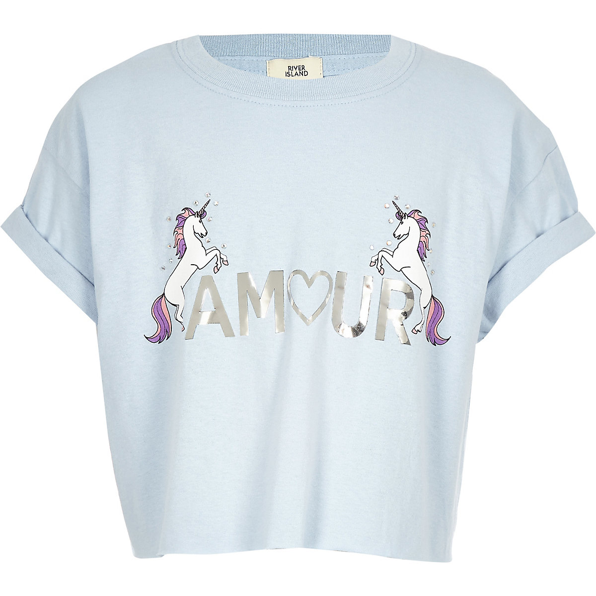 Girls blue 'amour' unicorn T-shirt