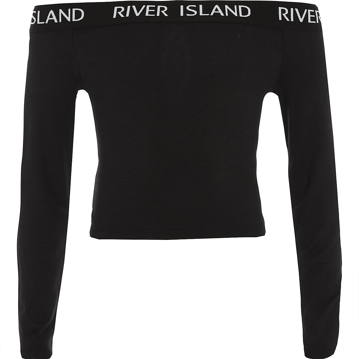 Girls black RI long sleeve bardot top