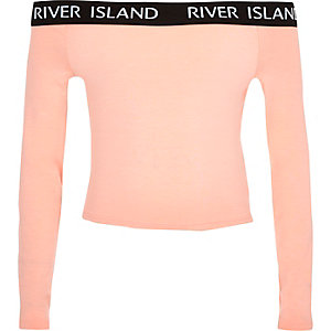 Girls coral RI long sleeve bardot top