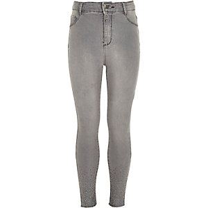 Girls grey Molly embellished jeggings