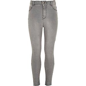 Girls grey Molly embellished jeggings