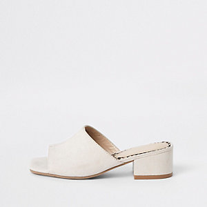 Girls cream peep toe mule