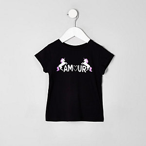 Mini girls black 'amour' unicorn T-shirt