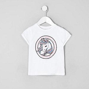 Mini girls white unicorn print T-shirt