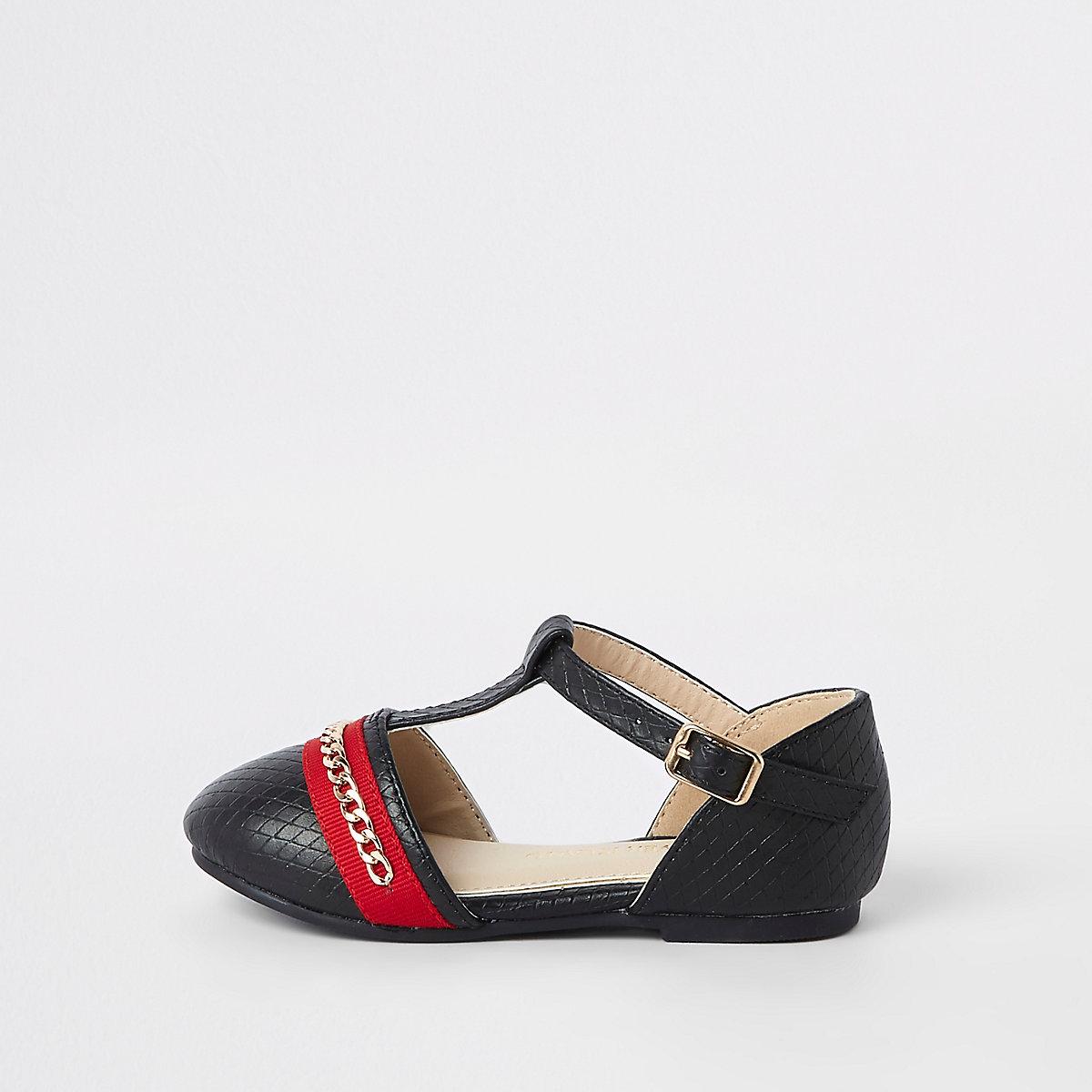 Mini girls black chain ballerina shoes