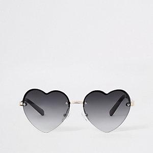 Lunettes de soleil cœur noires à verres teintés pour fille