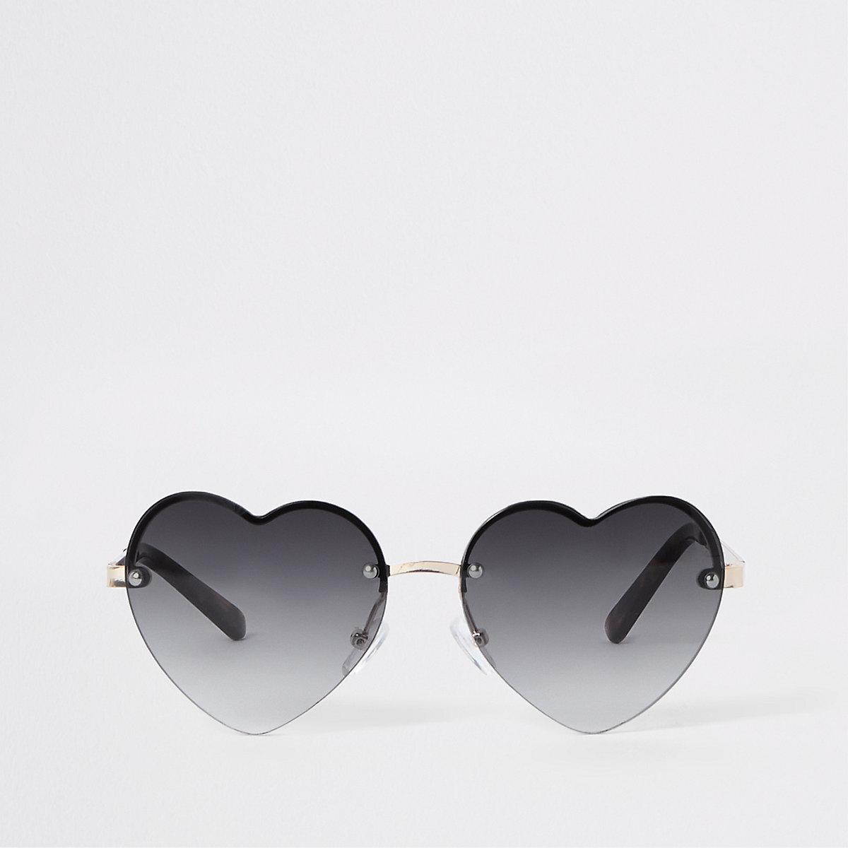 Girls black heart tinted lens sunglasses