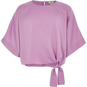 Girls pink tie side T-shirt