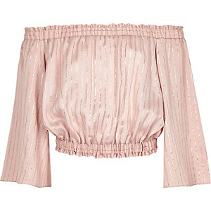 Girls pink metallic stripe bardot top