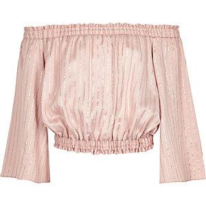 Roze metallic gestreepte bardottop voor meisjes