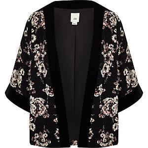 Kimono à fleurs noir pour fille